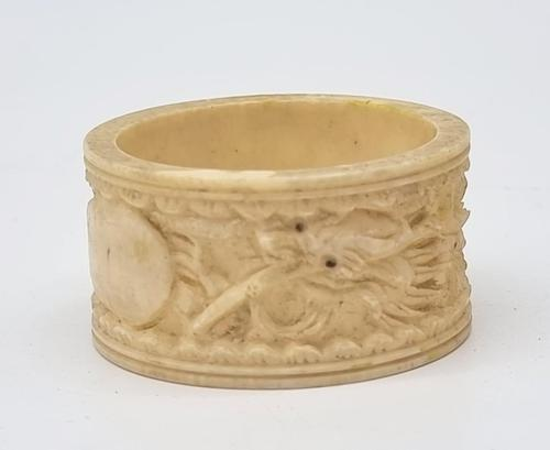 Antique Chinese Bone Napkin Ring with Hand Carved Dragon Decoration (1 of 6)