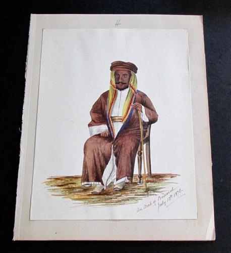 1878 Watercolour of an Arab of Bussorah (basra) (1 of 2)