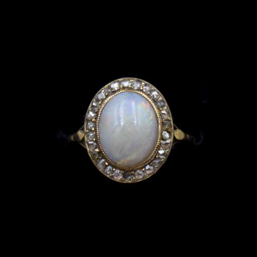 Antique Natural Opal & Rose Cut Diamond Halo 18ct 18k Yellow Gold Ring (1 of 8)