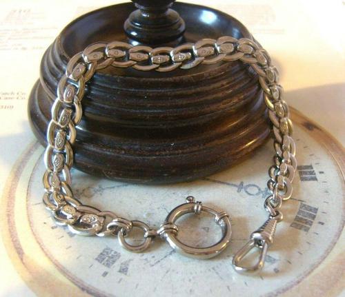 Antique Pocket Watch Chain 1910 Art Nouveau Silver Chrome Graduated Albert Nos (1 of 11)