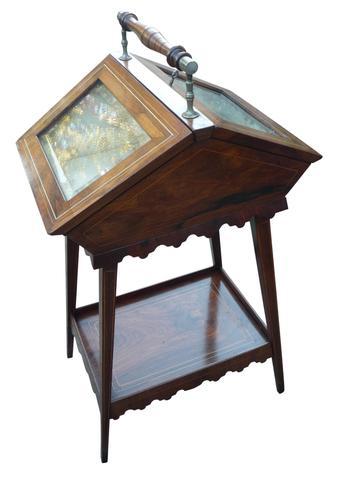 Attractive & Unusual Victorian Rosewood Display Cabinet c.1890 (1 of 3)