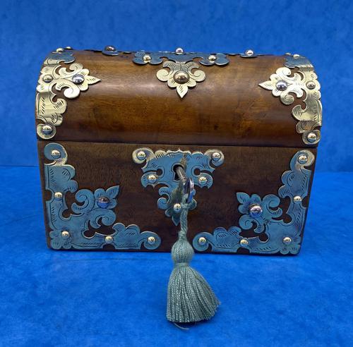 Victorian Brassbound Walnut Box c.1850 (1 of 10)
