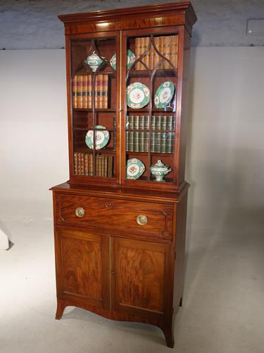 Attractive Regency Period Mahogany Secretaire Bookcase (1 of 5)