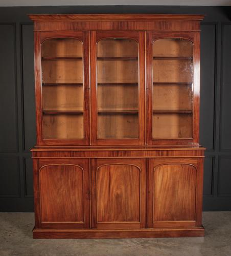 Large Victorian Mahogany Triple Bookcase (1 of 4)