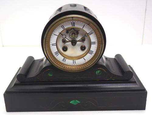 Fantastic Antique French Slate Drum Head Mantel Clock Wow! Striking 8-day Mantle Clock with Jewelled Pallets C1870 (1 of 10)
