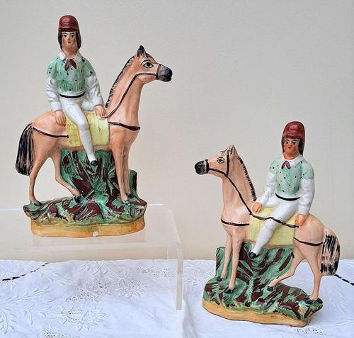 Pair of Antique English Victorian Staffordshire Pottery Figures of Mounted Jockeys ~ H 3312 / H 3313 (1 of 12)