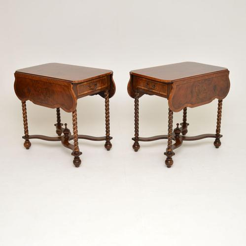 Pair of Antique Burr Walnut Drop Leaf Side Tables (1 of 12)