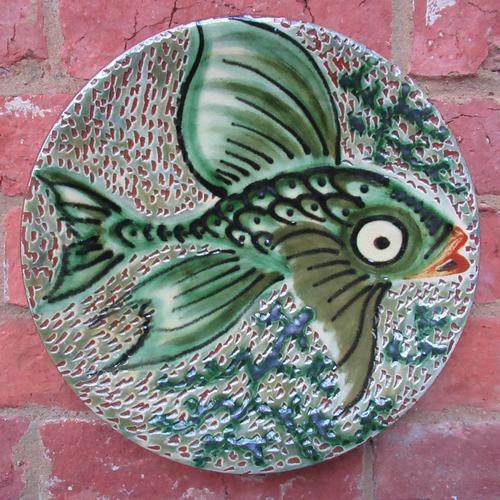 Spanish Art Pottery Fish Plate, Puigdemont Catalonia c.1950 (1 of 5)