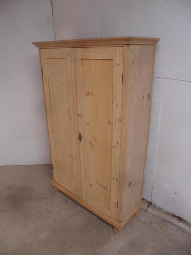 Victorian Tall Antique Pine 2 Door 2 Drawer Storage Cupboard to wax / paint (1 of 11)