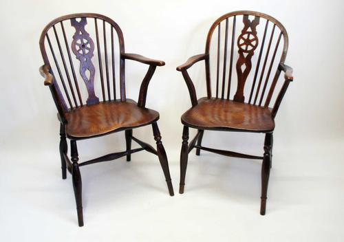 Pair Georgian Oak & Elm  Windsor armchairs (1 of 20)