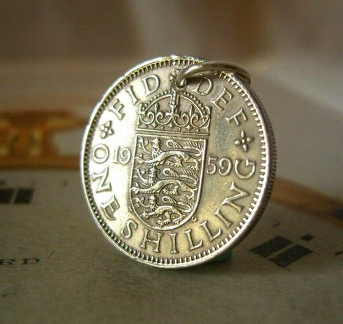 Vintage Pocket Watch Chain Fob 1959 Lucky Silver One Shilling Old 5d Coin Fob (1 of 8)