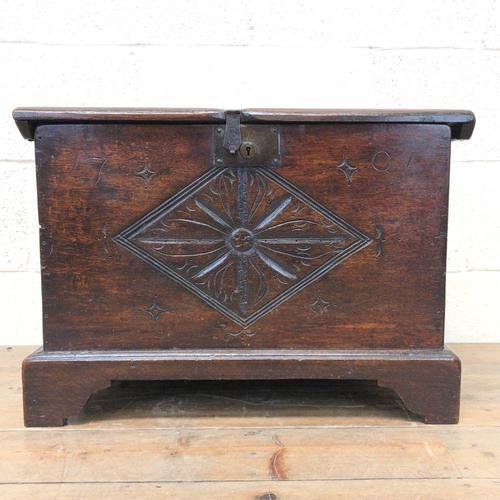 Antique Carved Oak Coffer (1 of 7)