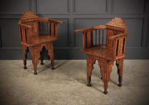 Pair of Damascus Syrian Moorish Inlaid Armchairs (1 of 17)