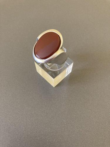 Danish Silver and Red Agate Ring. By N E From (1 of 6)