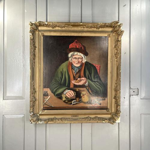 Antique Georgian Oil Painting Portrait Entitled The Miser by C Hind 1823 (1 of 10)