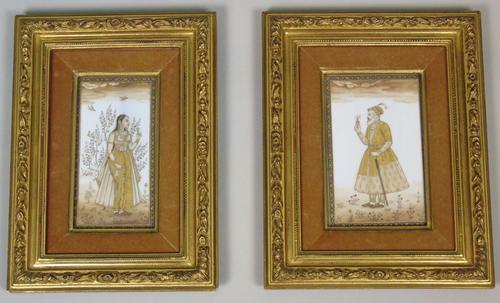 Good Pair of 19th Century Indian Paintings Aurangzeb & Dilras Banu Begum (1 of 11)
