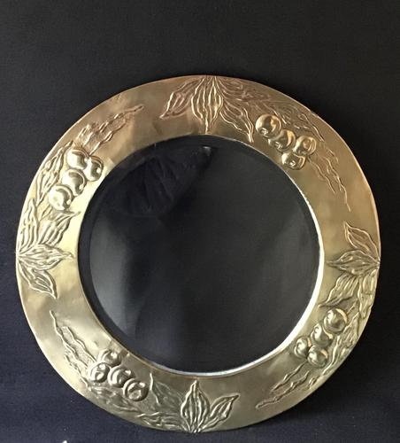 Arts and Crafts Brass Repousse Wall Mirror (1 of 6)