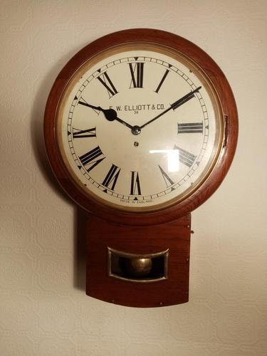 "14"" Mahogany, Elliott, Drop-dial Fusee Wall Clock (1 of 4)"