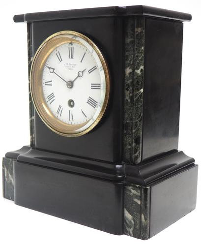 Antique French Slate & Marble 8 Day Mantel Clock J W Benson (1 of 8)