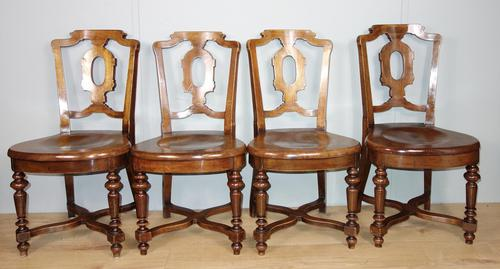 Set of Four Light Mahogany Victorian Hall Chairs (1 of 6)