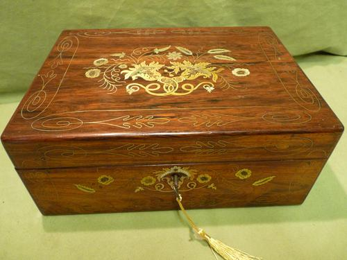 Beautifully Inlaid Rosewood Jewellery Box. Unusual Interior c.1865 (1 of 14)