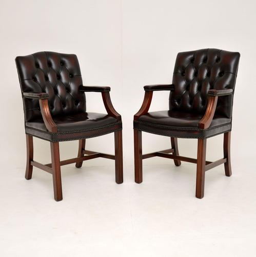 Pair of Antique Georgian Style Leather Gainsborough Armchairs (1 of 9)