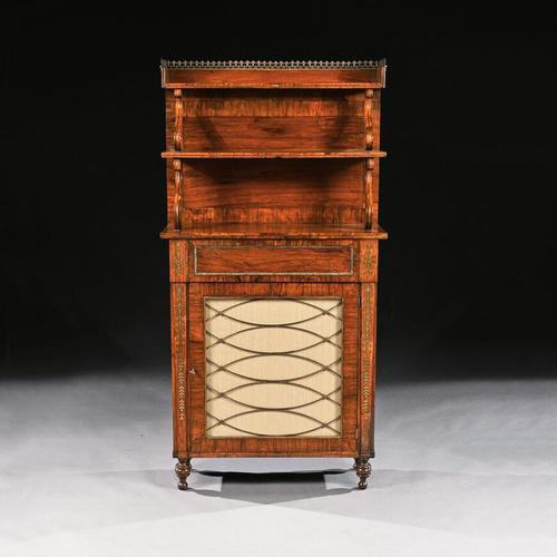 Fine Regency Brass Inlaid Rosewood Chiffonier Of Narrow Proportions (1 of 7)