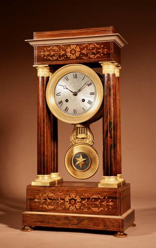 A Very Stylish Charles X Rosewood/Palisandre Inlaid With Lemon Wood and Ormolu Portico Clock Circa: 1830 (1 of 15)