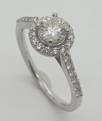 18ct White Gold Diamond Solitaire Halo Ring (1 of 5)
