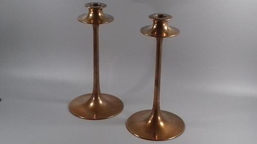 Arts & Crafts Dryad Lester Copper Candlesticks Pair Art Nouveau (1 of 12)