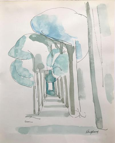 Original watercolour 'a tree lined avenue, tuscany' by Toby Horne Shepherd 1909-1993. Signed and framed. (1 of 1)