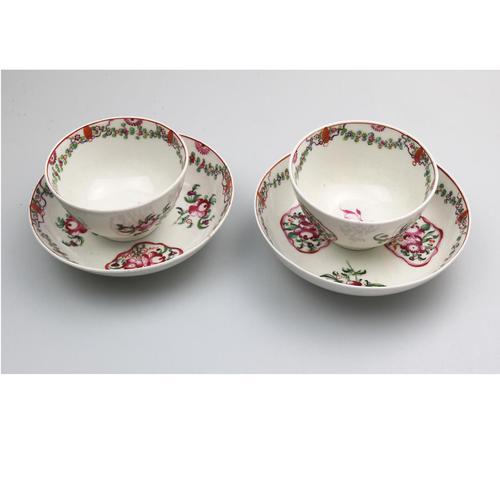 A Pair New Hall Porcelain Tea Bowls & Saucers C.18thc (1 of 8)