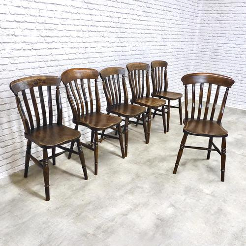 Matched Set of 6 Windsor Lathback Kitchen Chairs (1 of 7)