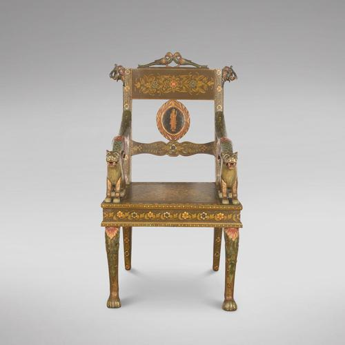 Early 20th Century Indian Hand-painted Chair (1 of 5)