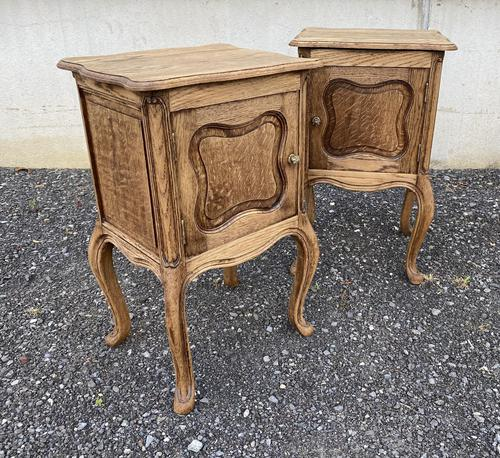 Nice Pair French Bleached Oak Bedside Cupboards (1 of 10)