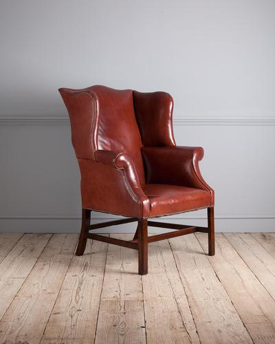 George III Mahogany & Leather Wing Armchair (1 of 9)