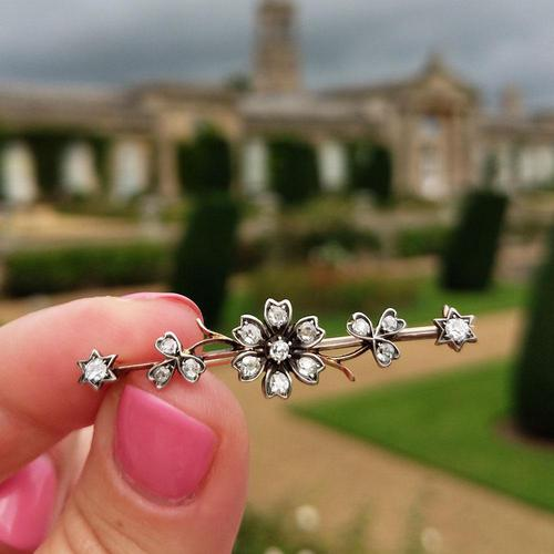 Victorian Diamond Floral Star Bar Brooch in 9ct Gold and Silver (1 of 7)