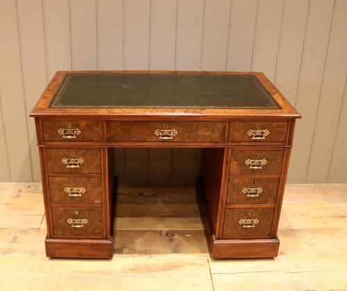 Late 19th Century Burr Walnut Pedestal Desk (1 of 11)