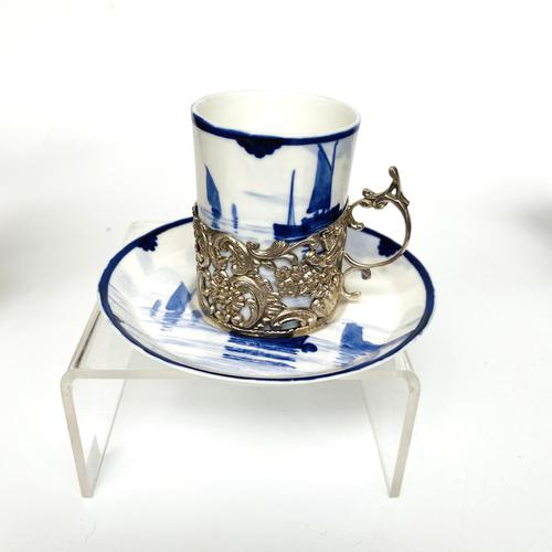 Royal Crown Derby Coffee Cup & Saucer in Silver Holder (1 of 8)