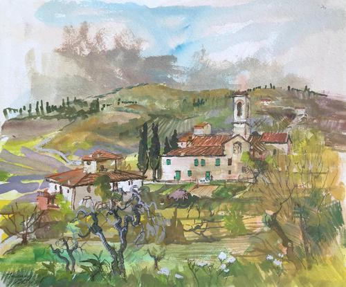 Original Gouache Painting 'Near St. Donato, in Collina Italy' By Barbara Lady Brassey 1911-2010 Signed & Inscribed (1 of 2)