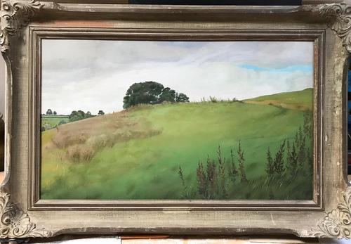 Original Oil on Board 'A Wiltshire hillside' by Peter Gardner Signed & Inscribed. c.1980 (1 of 3)