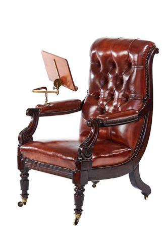 WV1 Period Mahogany & Leather Library Chair with Lectern (1 of 7)