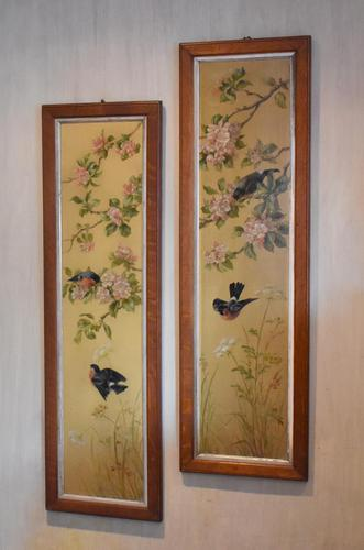 Pair of Oil Paintings of Finches in Blossom (1 of 12)
