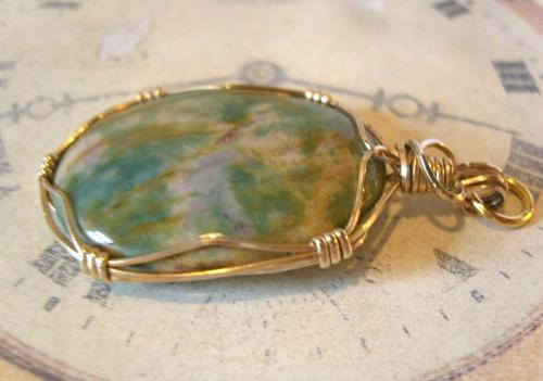Vintage Pocket Watch Chain Fob 1970s 12ct Gold Plated & Irish Connemara Marble Fob (1 of 10)