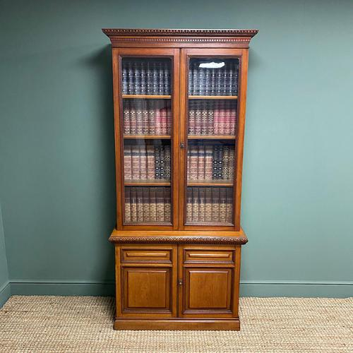 Quality Victorian Walnut Antique Glazed Bookcase on Cupboard (1 of 6)