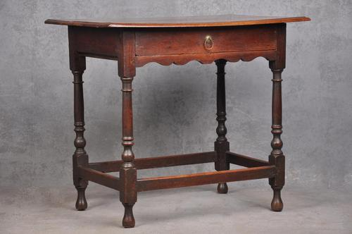 17th Century Oak Turned Leg  Side Table (1 of 10)