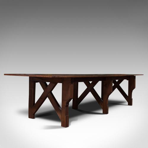 Large 12' Antique Kitchen Table, English, Pine, Industrial, Victorian, 1900 (1 of 12)