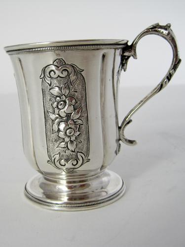 Victorian Silver Childs Christening Mug with a Cast Floral Handle (1 of 5)