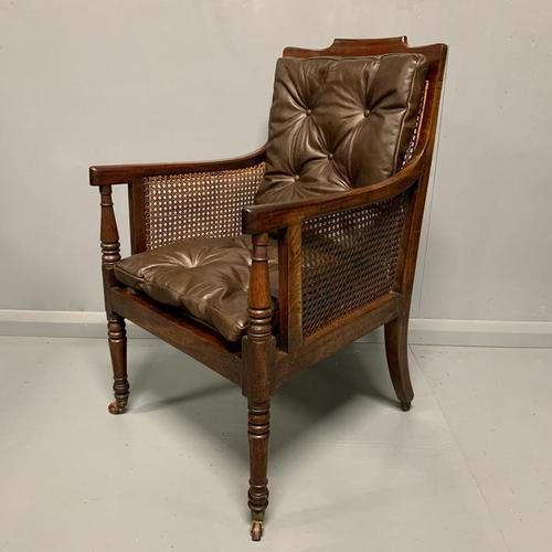 Regency Library Armchair With Leather Cushions (1 of 8)