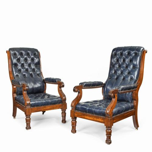 Pair of William IV Mahogany & Leather Upholstered Armchairs (1 of 11)